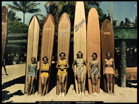 vintage surfing girls